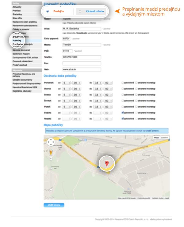 Predajne a výdajné miesta sa zákazníkovi zobrazia na detaile obchodu v  záložke Informácie a Pobočky. Pokiaľ máte správne nastavený dostupnostný  feed e1830e6d874
